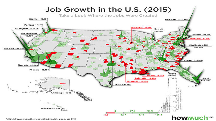a map of where u s job growth is spiking